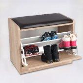 Prado 3 Bölmeli Oturaklı Ayakkabılık,ahşap Puflu Ayakkabılık Sacr
