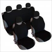 3&#039 Lü Set Spor Oto Koltuk Kılıfı Atlet Tek Renk Başlık Lı Siyah Renk