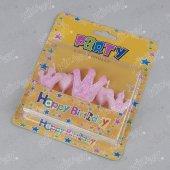 Kikajoy 5 Adet 1 Yaş Pembe Kraliçe Taçlı Doğum Günü Kürdan Mum