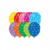 100 Adet Çepeçevre Yıldız Baskılı Balon + Balon Pompası