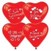 100 Adet Seni Seviyorum Baskılı Kırmızı Kalp Balon...