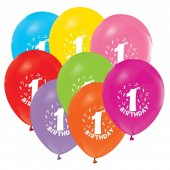 100 Adet Happy Birthday 1 Yaş Baskılı Balon + Balon Pompası