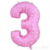 3 Rakamı Pembe Kalpli Folyo Balon 40