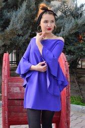 Straplez İspanyol Kol Mor Elbise