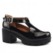 Classy 971 Günlük 6cm Topuk Bilekten Kemerli Bayan Rugan Ayakkabı