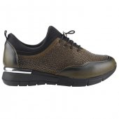 Florin Kdsz 1 Haki Günlük Lastikli Taşlı Bayan Spor Ayakkabı