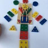 Eğitici Ahşap Oyuncak Bultak Vidalama Geometrik Şekiller 21 Parça