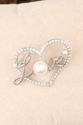 Zirkon Taşlı Love Yazılı Kalpli Broş