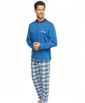 çift Kaplan 8105 Flanel Patlı Ekose Erkek Pijama Takım