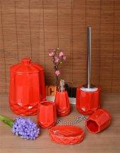 6 Parça Mozaik Banyo Seti Porselen Çöp Kovalı Kırmızı