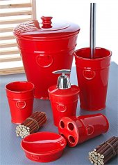 6 Parça Banyo Seti Porselen Çöp Kovalı 1078 Kırmızı