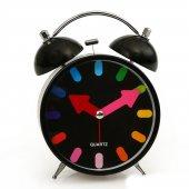 Siyah Renkli Metal Işıklı Zilli Çalar Masa Saati