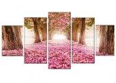 çiçekli Ağaçlar 5 Parça Kanvas Tablo
