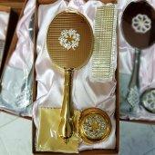 Hakiki Altın Kaplama Ayna Tarak 3lü Çeyiz Set