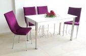 Taytüyü Kumaş Masa Sandalye Takımı 4 Kişilik Mutfak Masası