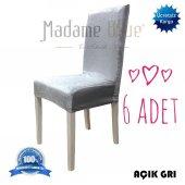 Madame Blue İpek Kadife Likralı Sandalye Örtüsü Kılıfı 6lı Paket