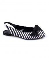 Siyah Beyaz Süet Zebra Desenli Bayan Babet
