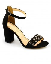 Siyah Süet Troklu Bayan Topuklu Ayakkabı