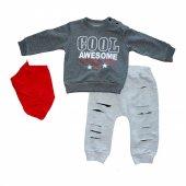Cool Little Man 3lü Erkek Bebek Eşofman Takım Gri