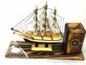 Dekoratif Ahşap Yelkenli Gemi Kalemlik