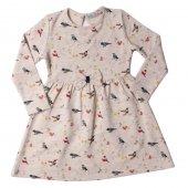 Toontoy Kız Çocuk Elbise Komple Kuş Desenli