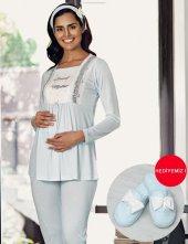 şahinler Terlik Hediyeli Lohusa Pijama Takımı Mavi Mbp23733 2