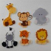 Safari Hayvanları Desenli Keçe Aplike Ütüyle Yapış...