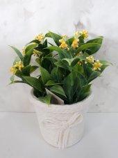 Yapay Çiçek 2 Adet Yeşil Bitki Saksı Tanzim Hasır Saksı
