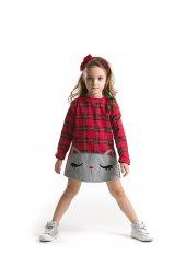 Denokids Kırmızı Ekose Kedicik Kız Çocuk Elbise