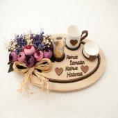 Damat Kahve Fincanı Ahşap İsme Özel Oval Mor Süslemeli