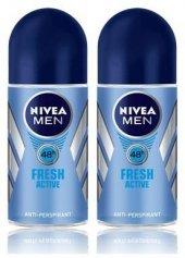 Nivea Deo Roll On Erkek Deodorant Fresh Active 50ml 2 Adet