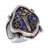925 Ayar Gümüş Mavi Mineli Kılıç Desenli Yüzük