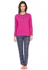 çift Kaplan 7321 Çiçekli Patlı Uzun Kol Bayan Pijama Takım