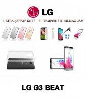 Lg G3 Beat Ultra İnce Şeffaf Silikon Kılıf + Temperli Cam