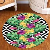 Yu 8003 Tropik Renkli Çiçekler 3d Yuvarlak Halı