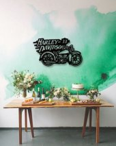 Dekoratif Ahşap Tablo Harley Davidson