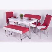 Mutfak Masa Yemek Masa Takımı Camlı Banklı Sandalyeli Orjinal Tk