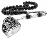 925 Ayar Gümüş Püsküllü Rus Oltu Tesbih Ve Pusat Yüzüğü Kombini