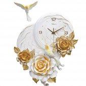 1011 G Kabartma Çiçek Desenli Duvar Saati