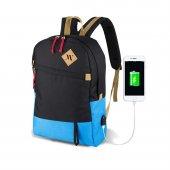 My Valice Smart Bag Freedom Usb Şarj Girişli Akıllı Sırt Çantası Siyah Mavi