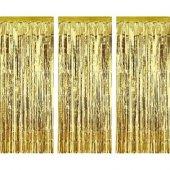 Metalize Asma Süs Kapı Perde Arkası Fon Gold Perdelik 230 Cm 2 Ad