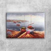 Renkli Kayıklar, Yelkenliler Deniz Manzarası 5 San...