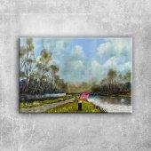 Orman Nehri, Doğa Manzarası 3 Yağlı Boya Sanat Kanvas Tablo