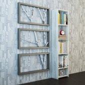 Mozaik 5 Raflı Kitaplık Eskitme Beyaz