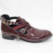 Bordo Rugan 5001 Krokodil Tokalı Fermuarlı Yarım Ayakkabı