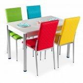 Mutfak Masa Takımı Deri 4 Sandalye + Masa 8 Renk Seçenekli