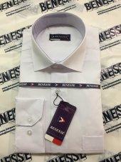 Benesse Dakron Beyaz Uzun Kollu Klasik Gömlek