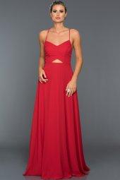 Cizgi İp Askılı Sırtı Capraz Kırmızı Abiye Elbise