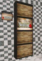 Evbox 4lü Welcome Baskılı Metal Ayakkabılık Gazetelik Fa 012