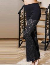 Transparan Dantel Detaylı Siyah Pantolon